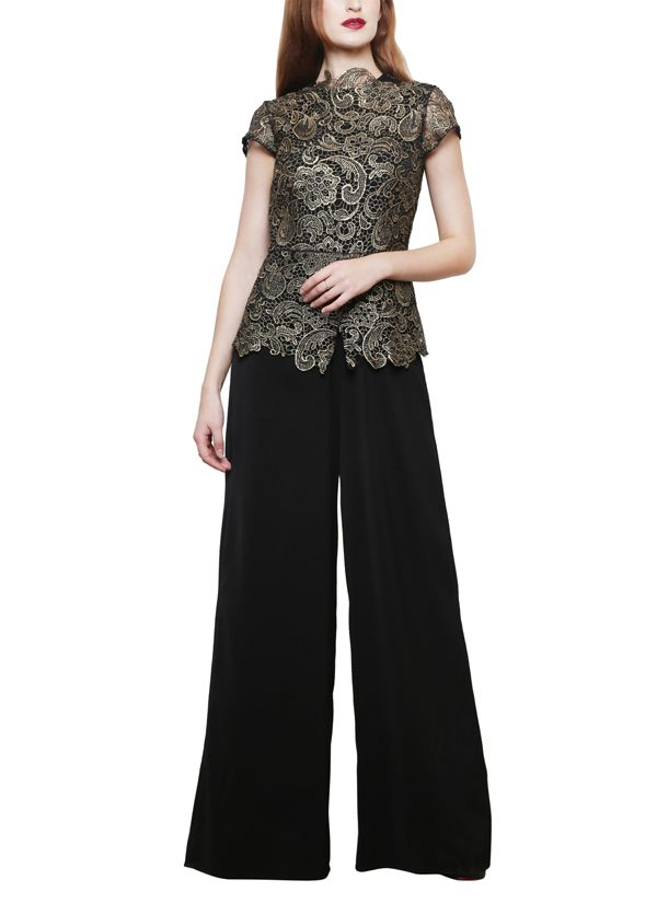 204eceabaabad Indian Fashion Designers - Swatee Singh - Contemporary Indian Designer -  Black Gold Laced Jumpsuit