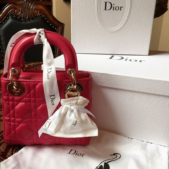 b0ac83fff1515c NIB Christian Dior Lady Dior Mini hot pink fushia 100% authentic ( never  condone fake!) new in box Christian Dior lady Dior mini in hot pink.