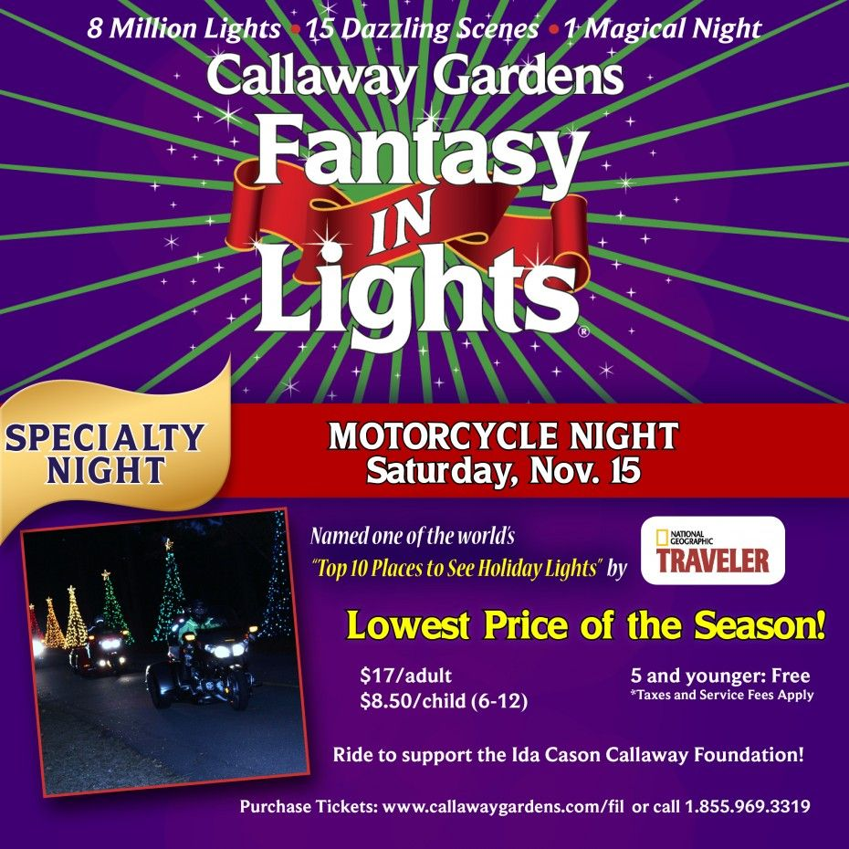 Motorcycle night at fantasy in lights sat nov 15 - Callaway gardens festival of lights ...