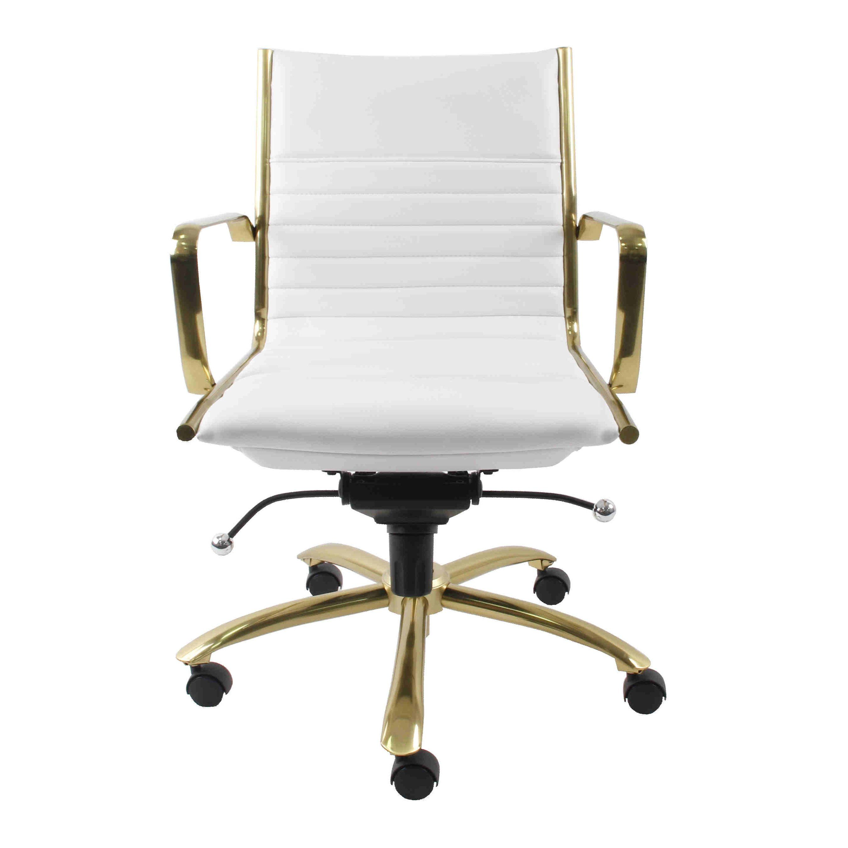 White Faux Leather & Brushed Gold Low Back Office Chair