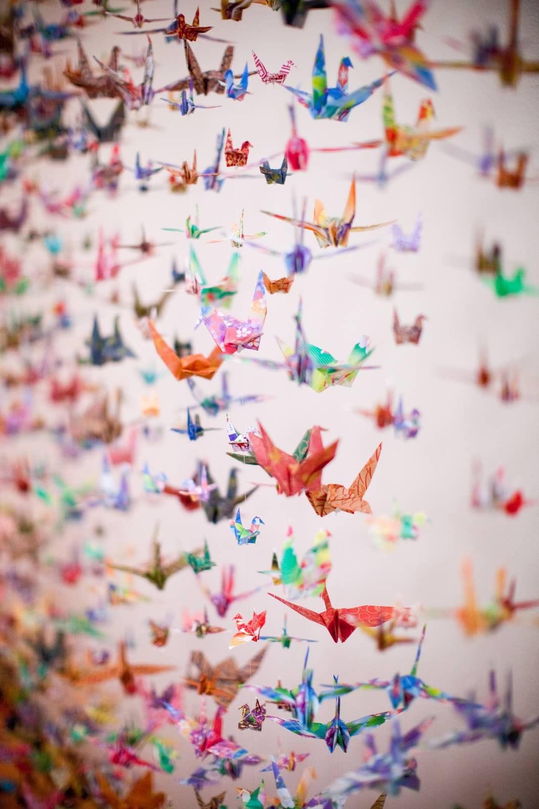 origami crane curtain back drop designed by deko balboa park san diego weddings pinterest. Black Bedroom Furniture Sets. Home Design Ideas