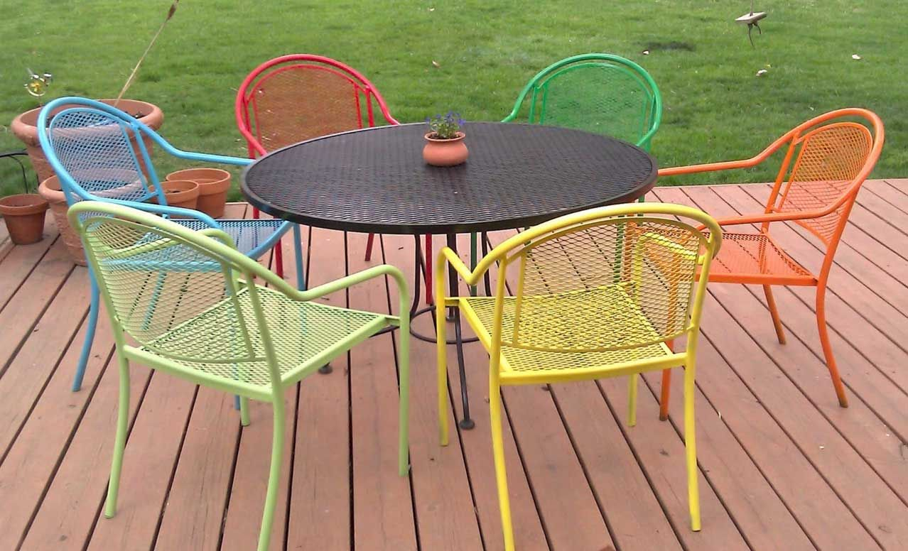 iron patio set piece seats furniture htm dining wrought p