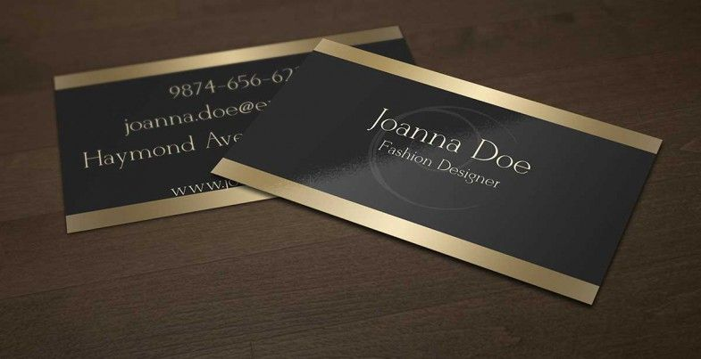 Elegant black and gold business card template for fashion