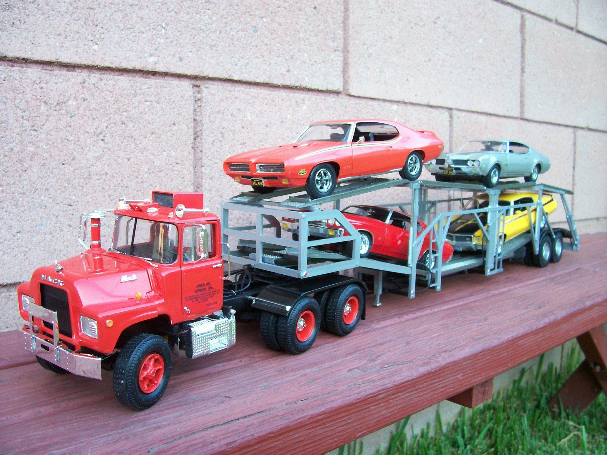 Mack Trucks Automatic : Mack truck with auto transport trailer car scale