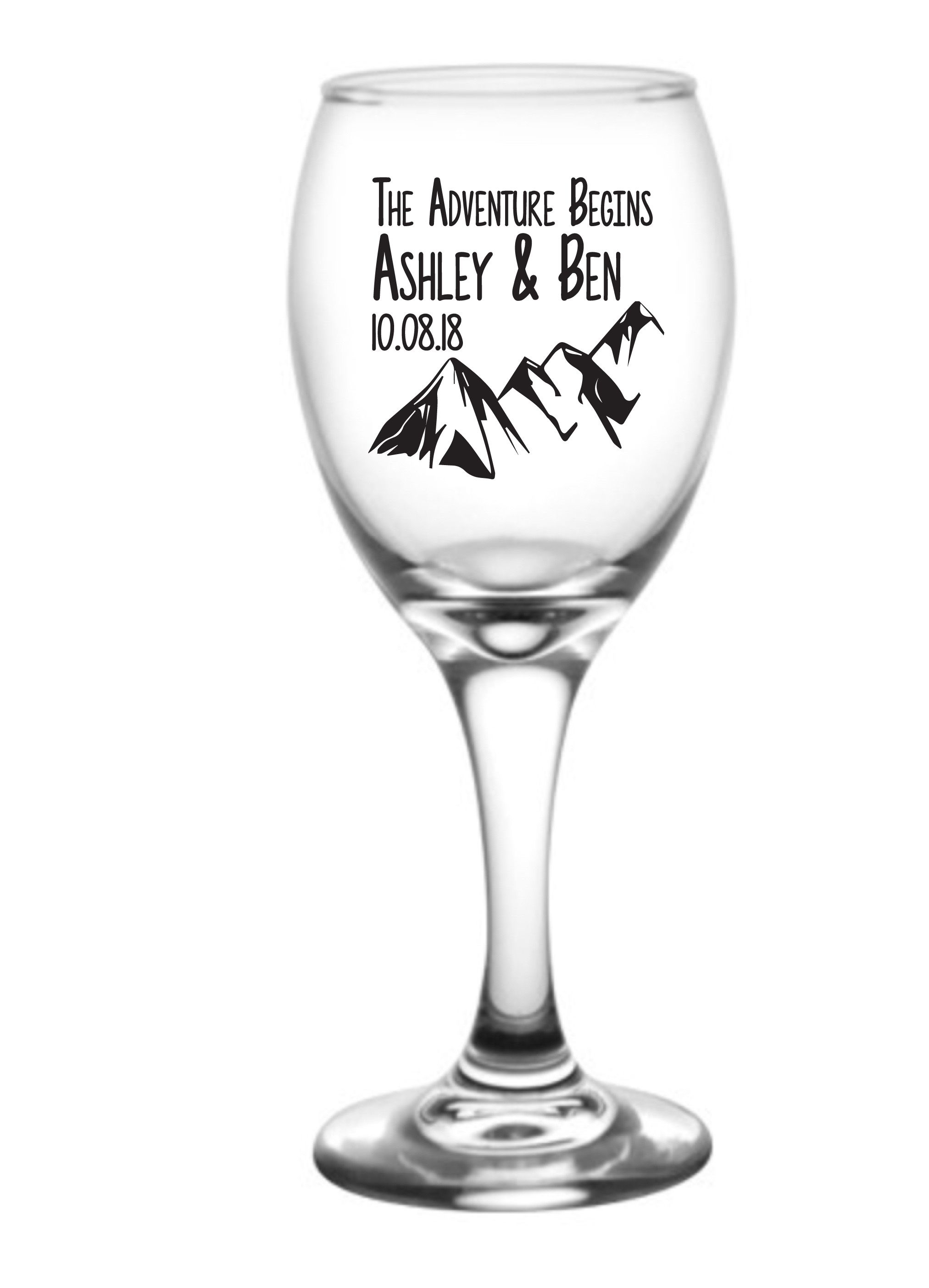 Wedding Wine Glasses Wedding Favors The Adventure Begins
