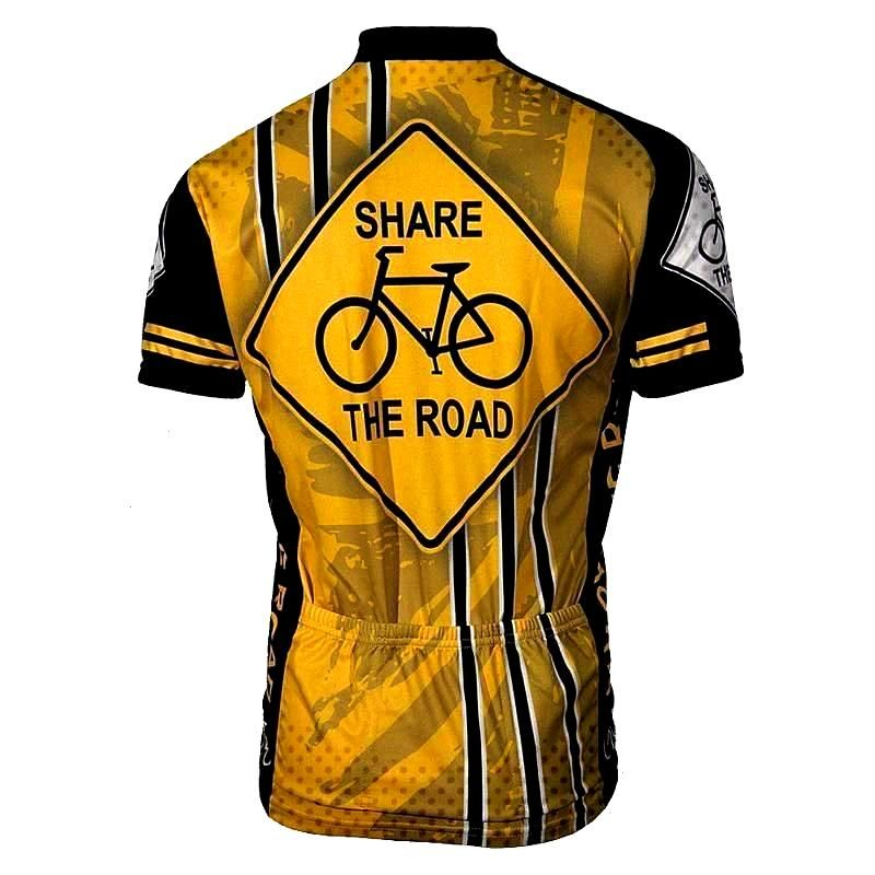 Send a message to drivers with this Yellow Share the Road Cycling Jersey made from high-quality Coo