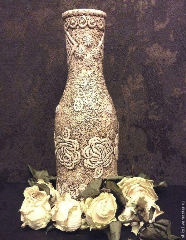 Купить Ваза Сицилийское кружево - коричневый, стеклянная ваза, для интерьера, розы, кружева, кружева ришелье
