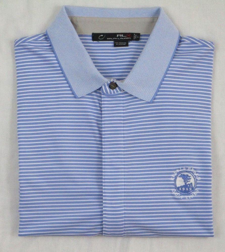 55d09845 Men's RALPH LAUREN RLX Polo Golf Shirt Sz L - Blue Strp - PEBBLE BEACH GL -  CA #RalphLaurenRLX #PoloRugby