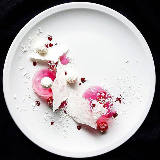 """Raspberry gelee, white chocolate truffles, vanilla meringue, coconut"" by @whistler_personalchef"