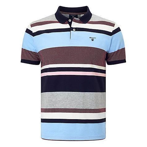 Buy Gant Multi Stripe Oxford Polo Shirt, Evening Blue Online at  johnlewis.com e111034f56