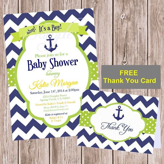 Boy baby shower invitation free thank you by pixelromance4ever reserved custom listing for jennifer boy baby shower invitation free thank you card printable chevron nautical navy green diy editable filmwisefo