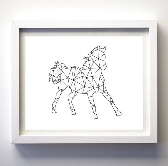 Black and white print wall art geometric animal wall art for Modern minimalist wall art