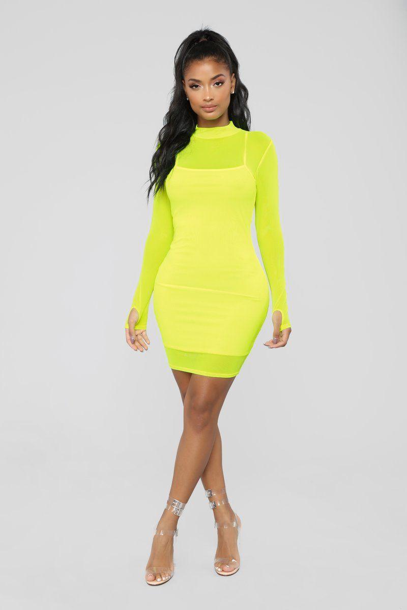 d8180c3b382 A Beautiful Mesh Mini Dress - Neon Yellow