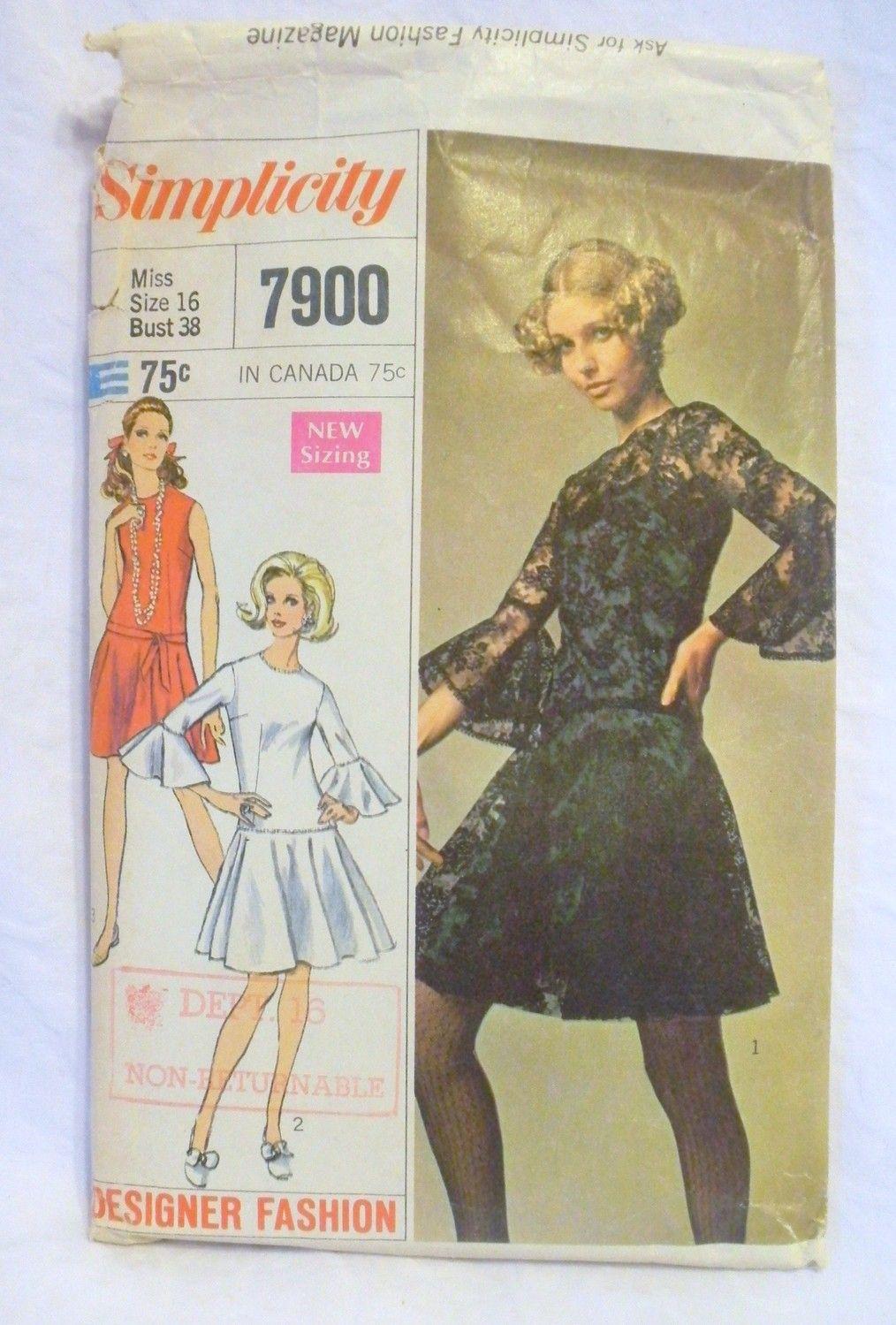 Vintage 1960s Party Dress Pattern Simplicity MOD Party Dress Slip