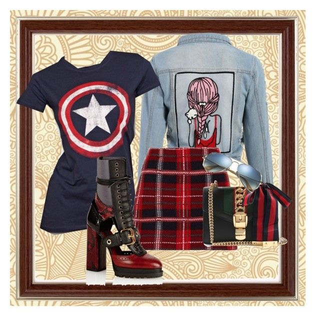 """""""Love month"""" by regine-alcasid-glammom ❤ liked on Polyvore featuring Marvel, Miu Miu, Burberry, Gucci and Ray-Ban"""