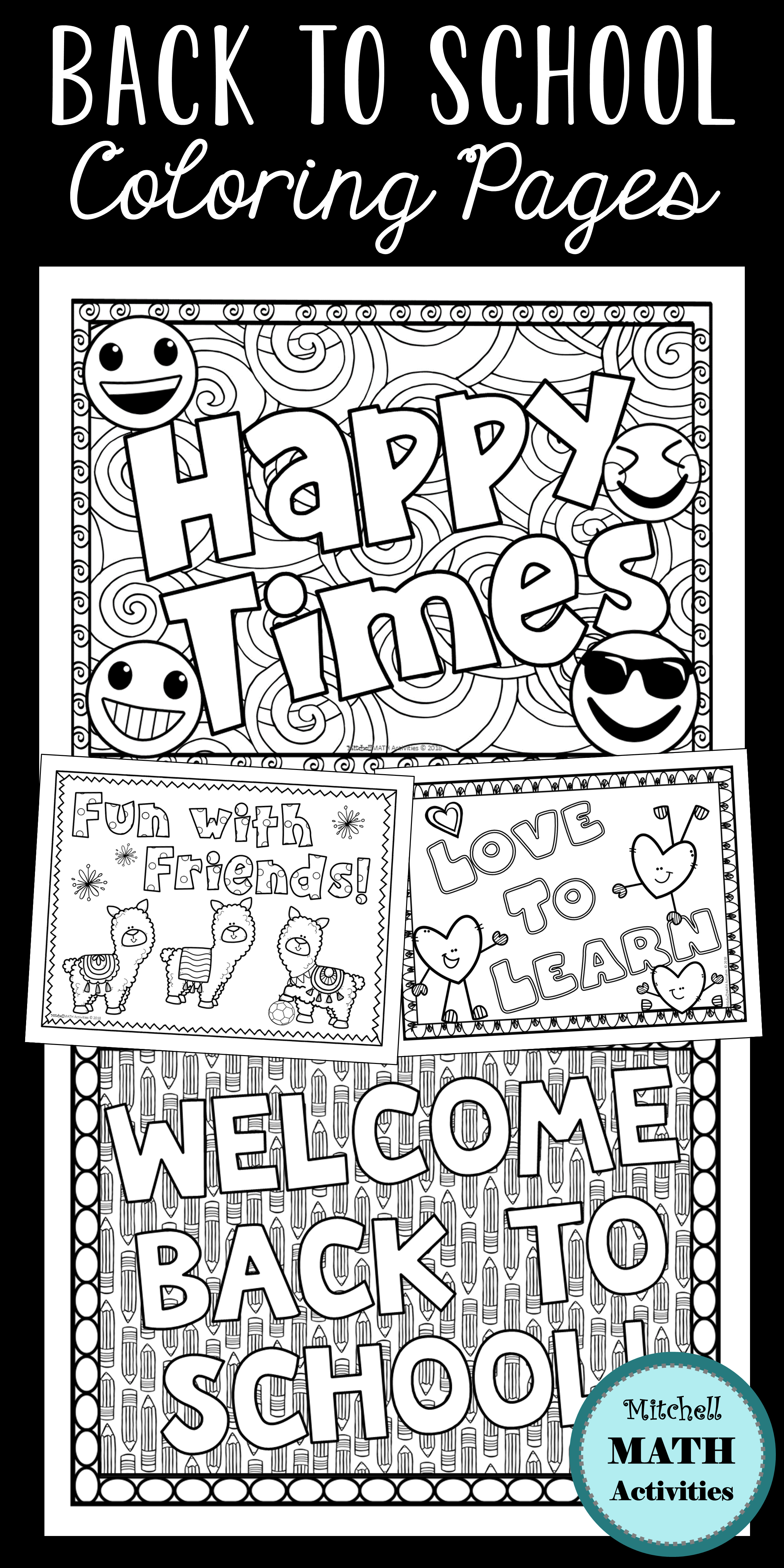 Free Coloring Page Of A School Building, Download Free Clip Art ... | 4800x2400