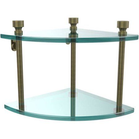 Foxtrot Collection Two Tier Corner Glass Shelf (Build to Order)