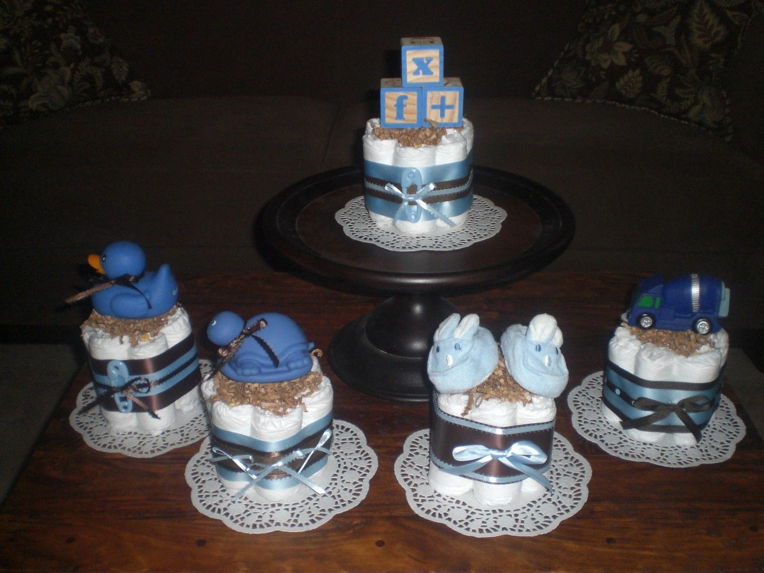 Blue And Brown Baby Boy Shower Centerpieces Diaper Cakes 20 Different  Designs Other Colors And Sizes