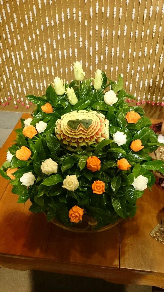 Flowers can be made buy vege. Commonly carrots and watermelon