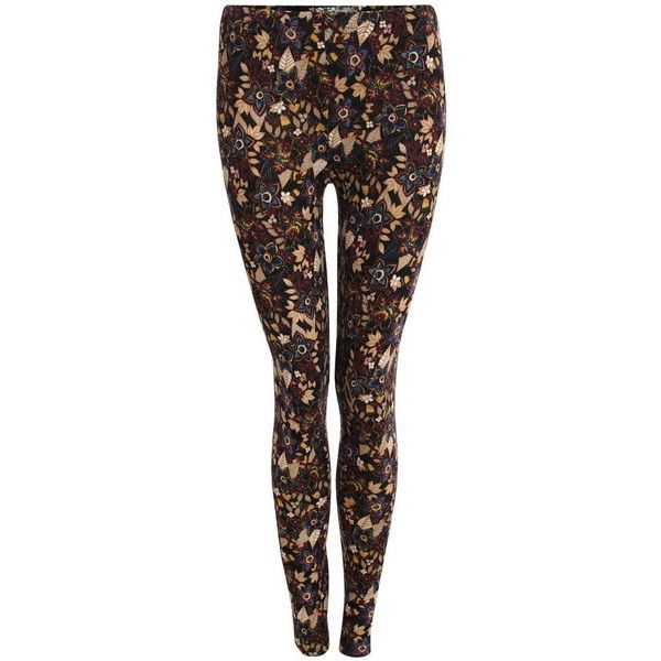 Pilot Brushed Knit Floral Print Leggings ($7.28) ❤ liked on Polyvore featuring pants, leggings, brown, floral printed pants, brown pants, floral trousers, knit leggings and knit pants