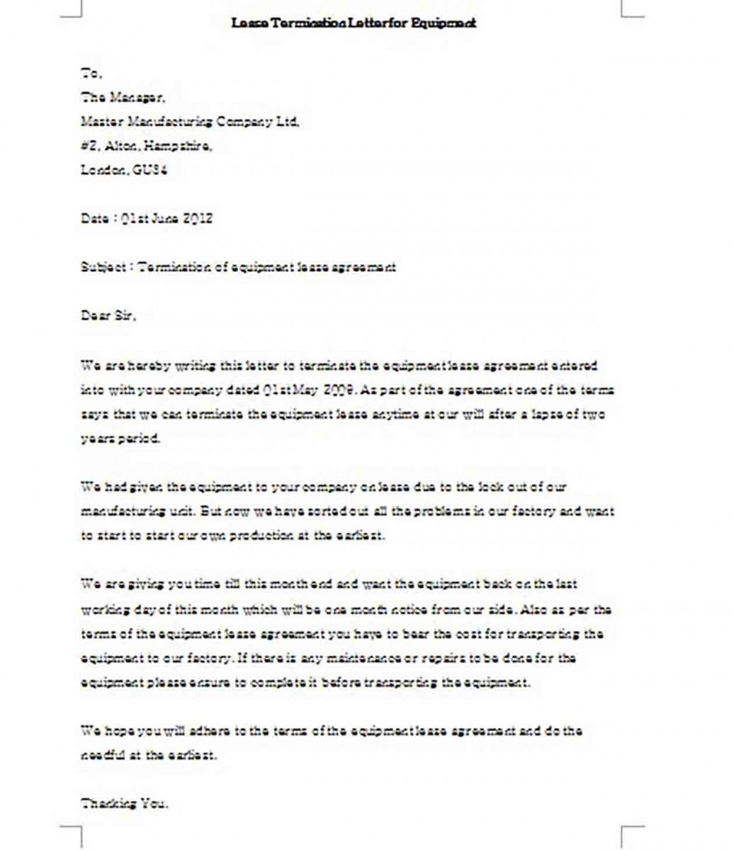 Lease Termination Letter For Equipment Templates Example Lettering Ways To Write Letter For Him