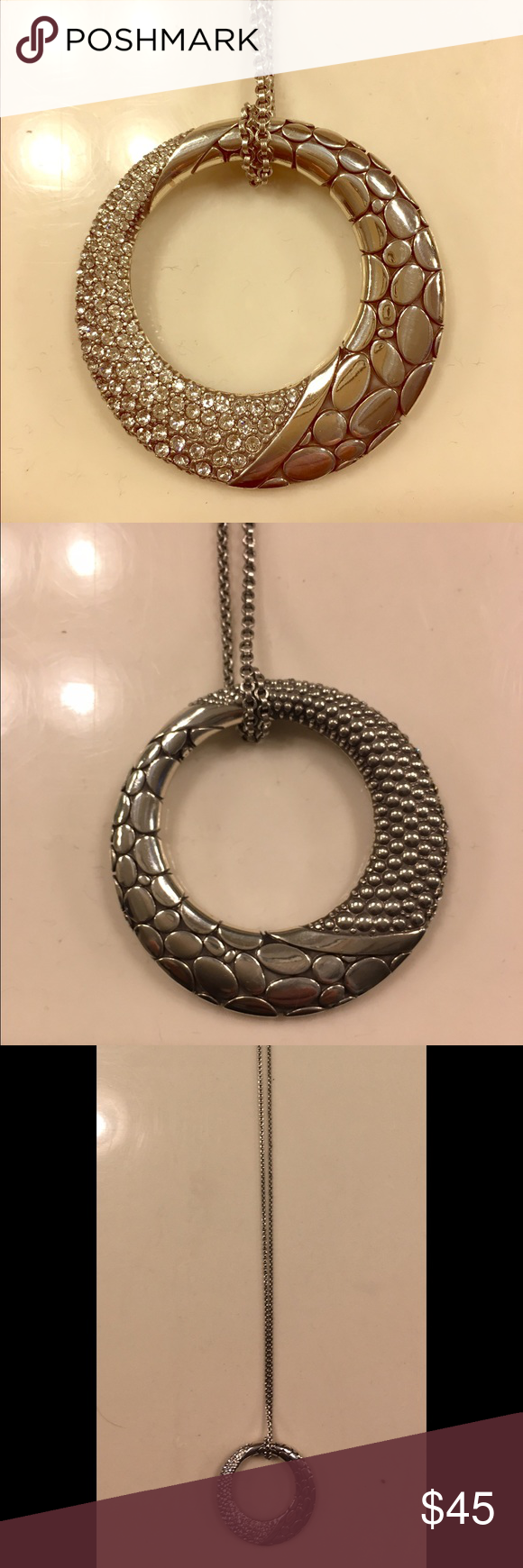 """Brighton Pebble Ice Swarovski crystals Pendant Brighton Pendant. Reversible. Swarovski Crystals On One Side, Silver Bead Texture On Reverse Side. Chain Length 34-36"""". Extender on chain. Great Condition. Silver plated Brighton Jewelry Necklaces"""
