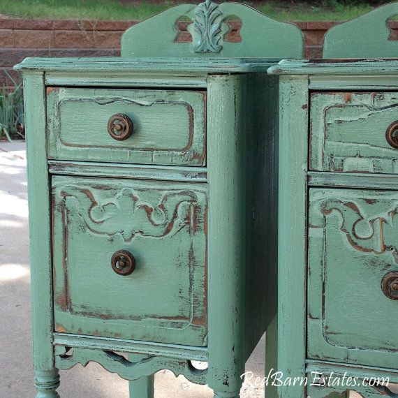 Gorgeous Painted Nightstands Tourmaline Aqua The by RedBarnEstates