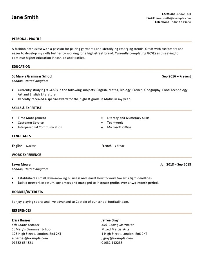 How to Write a CV as a Teenager (with Examples) Writing