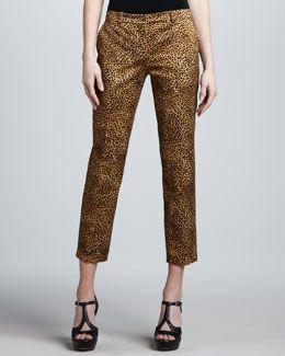 f9e933ddb4f4 T7R4F Michael Kors Samantha Leopard-Print Skinny Pants   HA ...