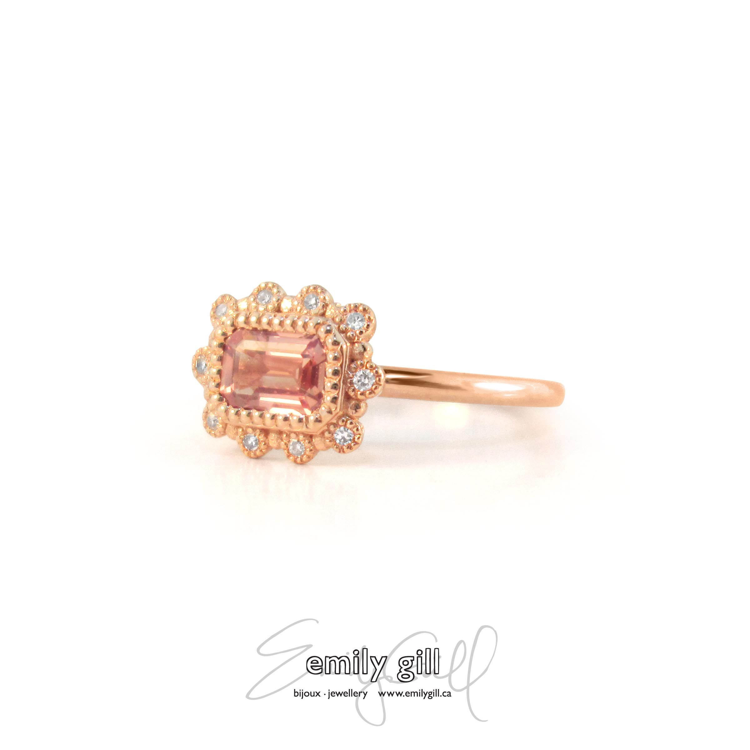 in peach ring oval gold pin rose bezel diamond and sapphire stone
