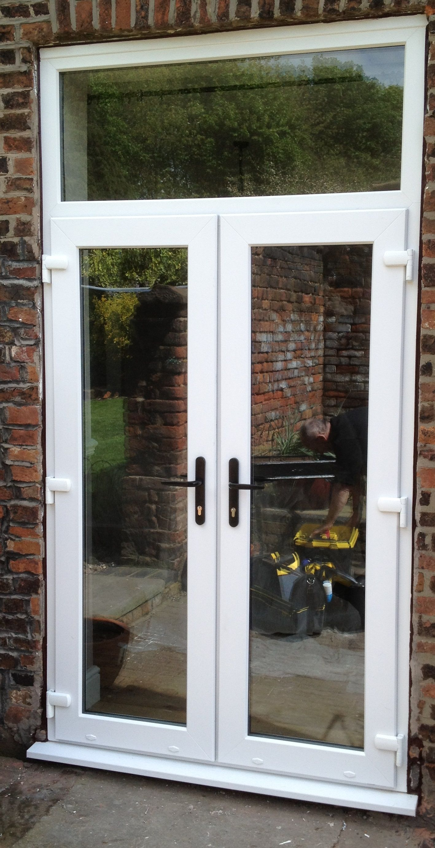 White French Door With Toplight French Doors Upvc French Doors French Doors Patio