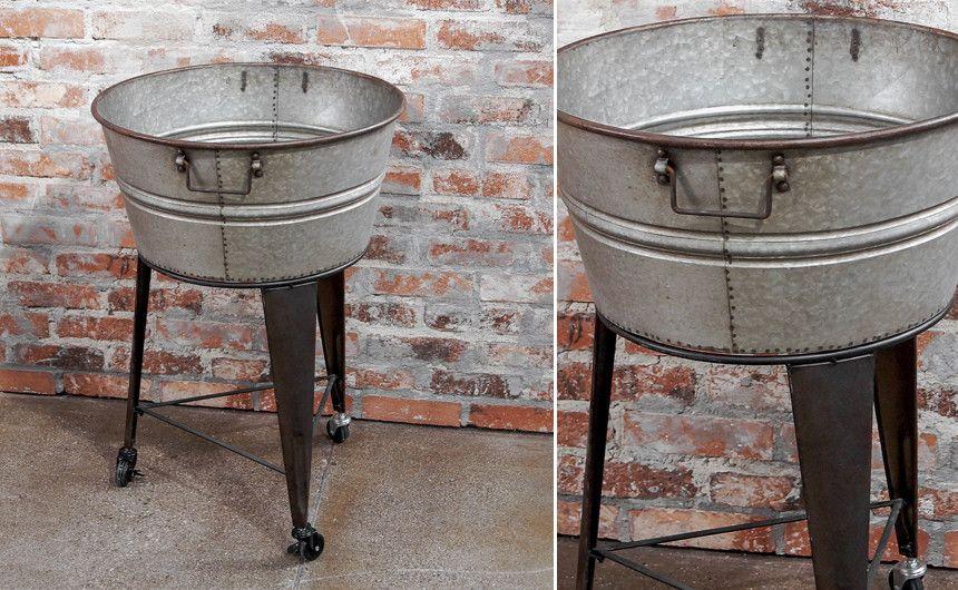 Galvanized Party Tub On Stand Galvanized Wash Tub Wash Tubs Rustic Vintage Decor