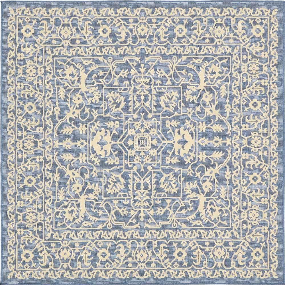 Unique Loom Outdoor Botanical Blue 6 X 6 Square Rug Products