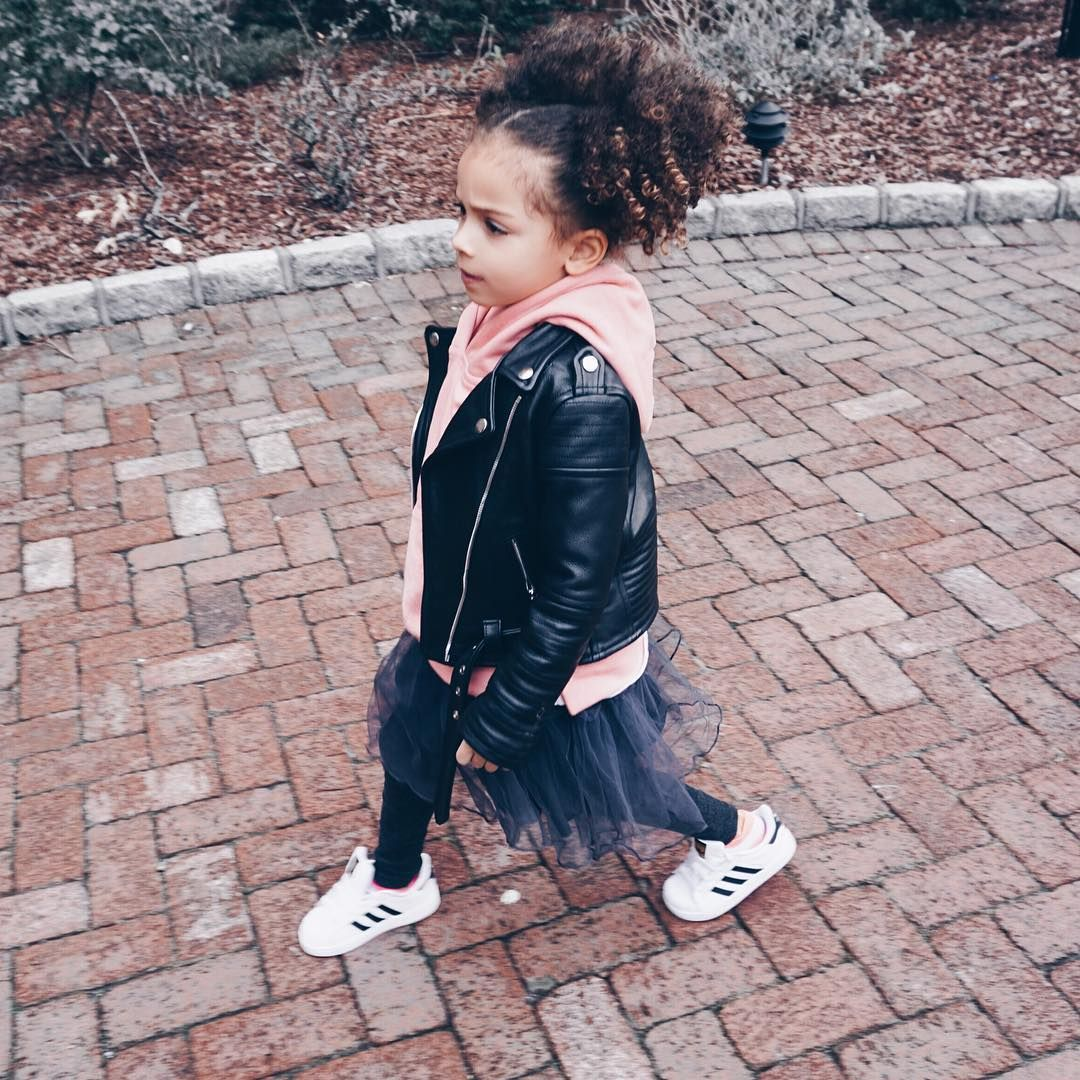 London Scout Sai De Silva On Instagram Strolling In Hausofjr Sweat Top Laer Kids Leather Jacket And Little Girl Fashion Little Girl Outfits Kids Outfits [ 1080 x 1080 Pixel ]