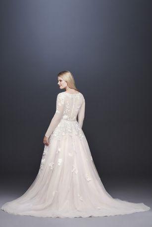 36452d7a494d Illusion Sleeve Plunging Plus Size Wedding Dress | David's Bridal ...