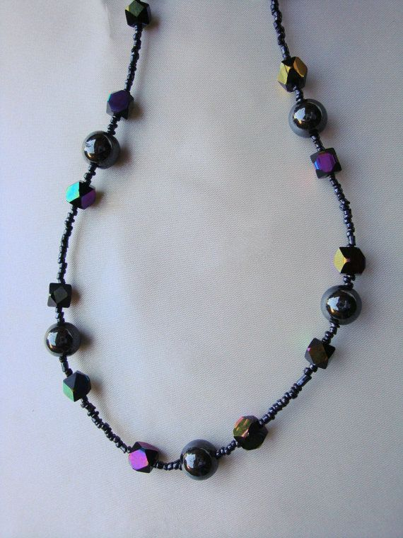Hematite  necklace Beaded necklace by UniquelyArdath on Etsy, $21.99