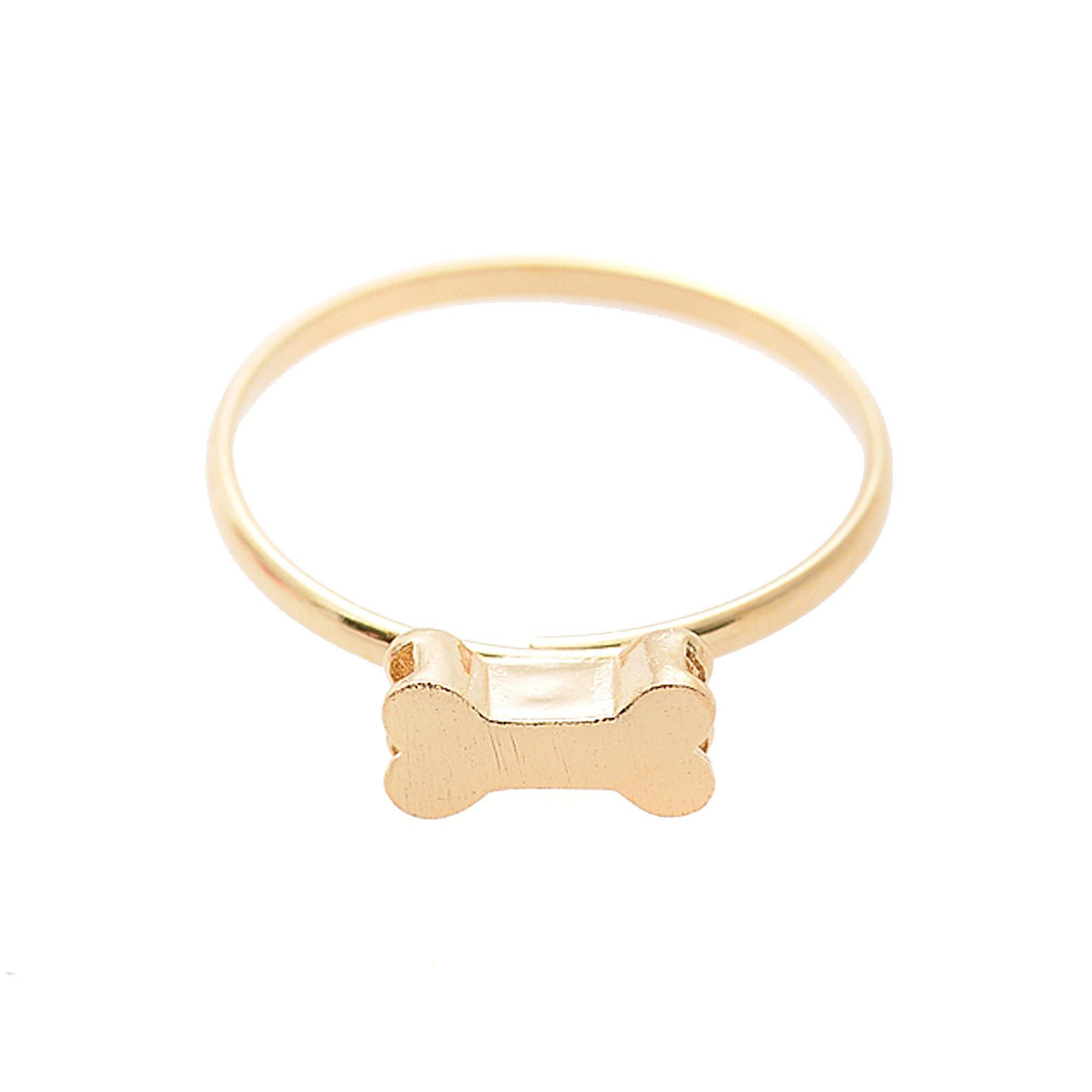 Spinningdaisy Handcrafted Brushed Metal Kitsch Dog Bone Ring