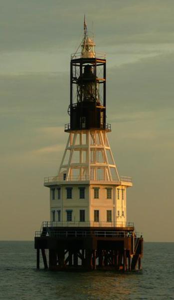 "One Fathom Bank Lighthouse    The ""new"" One Fathom Bank Lighthouse, activated 1999.  Location One Fathom Bank (Permatang Sedepa), off the coast of Selangor, Malaysia"