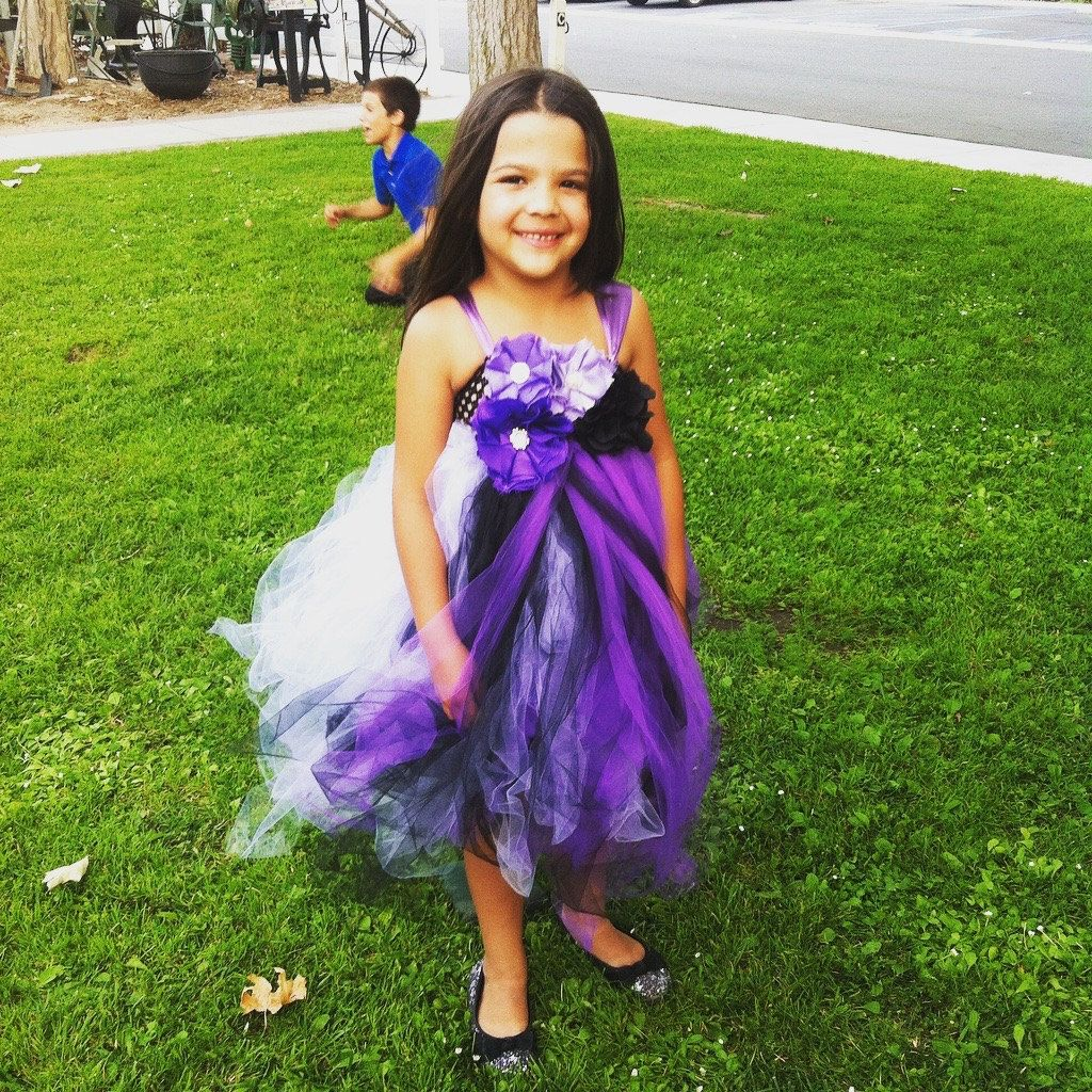 Purple and black tulle dress flower girl dress up princess by