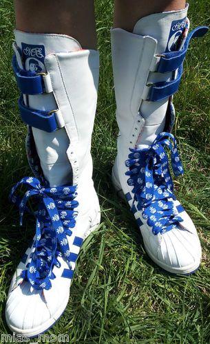 Missy Elliot Adidas Remix 3 Stripe Boot Knee High Blue