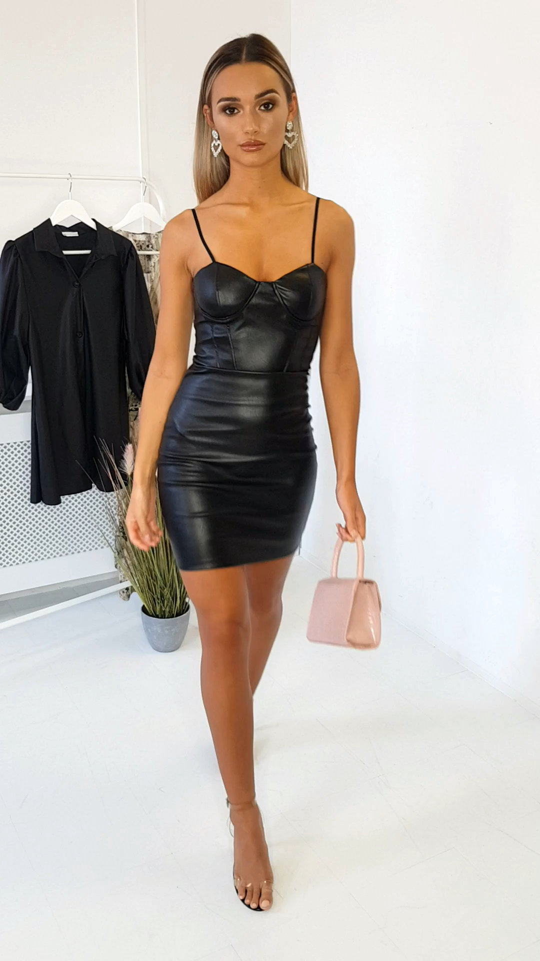 Photo of Adriana Faux Leather Bodycon Mini Dress