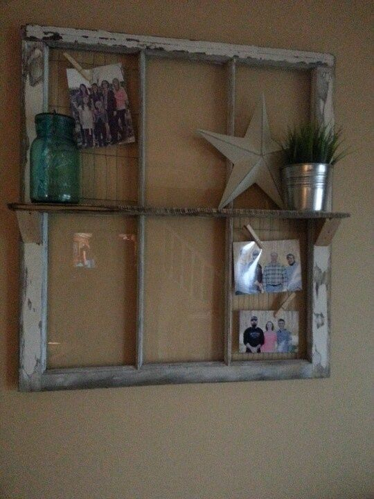 Old window projects old window and pallet wood shelf for Old wooden windows craft ideas