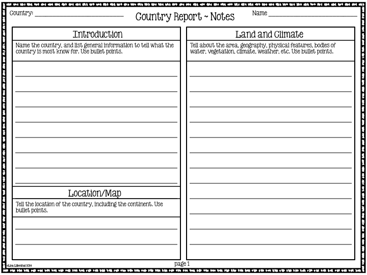Country Report Research Project  Informative Writing Common Core