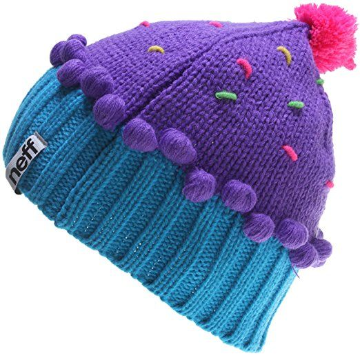 aaba0baf5 Neff Women's Cupcake Beanie Hat - Neon Purple/Blue, Medium | Yarn ...