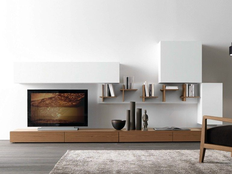 Sectional walnut TV wall system CF46 Modus Collection by Presotto ...