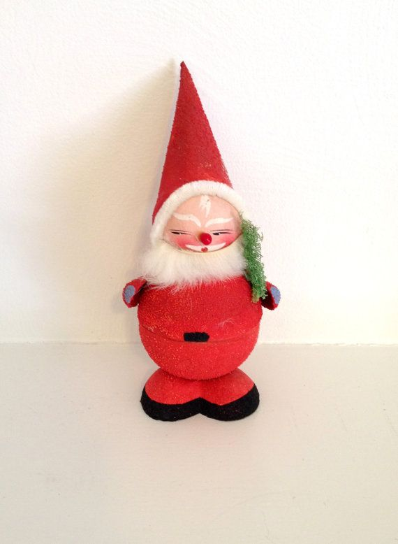 vintage christmas santa paper mache candy container made. Black Bedroom Furniture Sets. Home Design Ideas