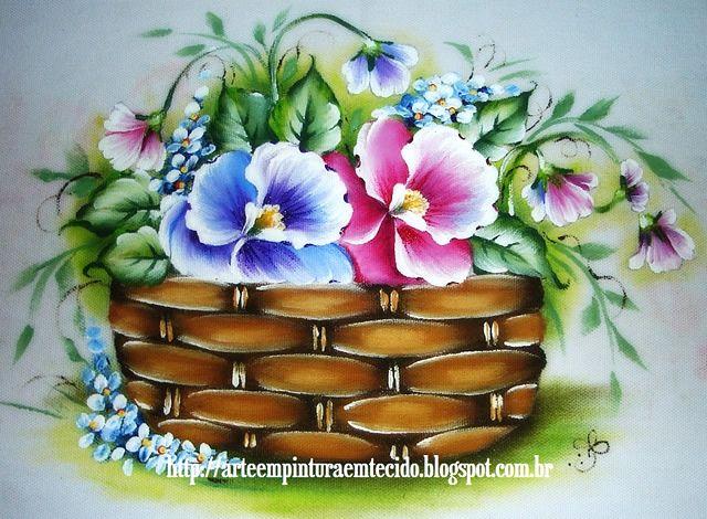 pintura-em-tecido-cesta-de-flores-amor-perfeito