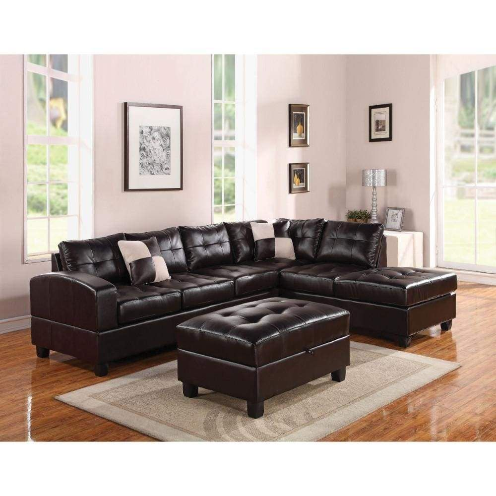 Bonded leather reversible sectional sofa with 2 pillows