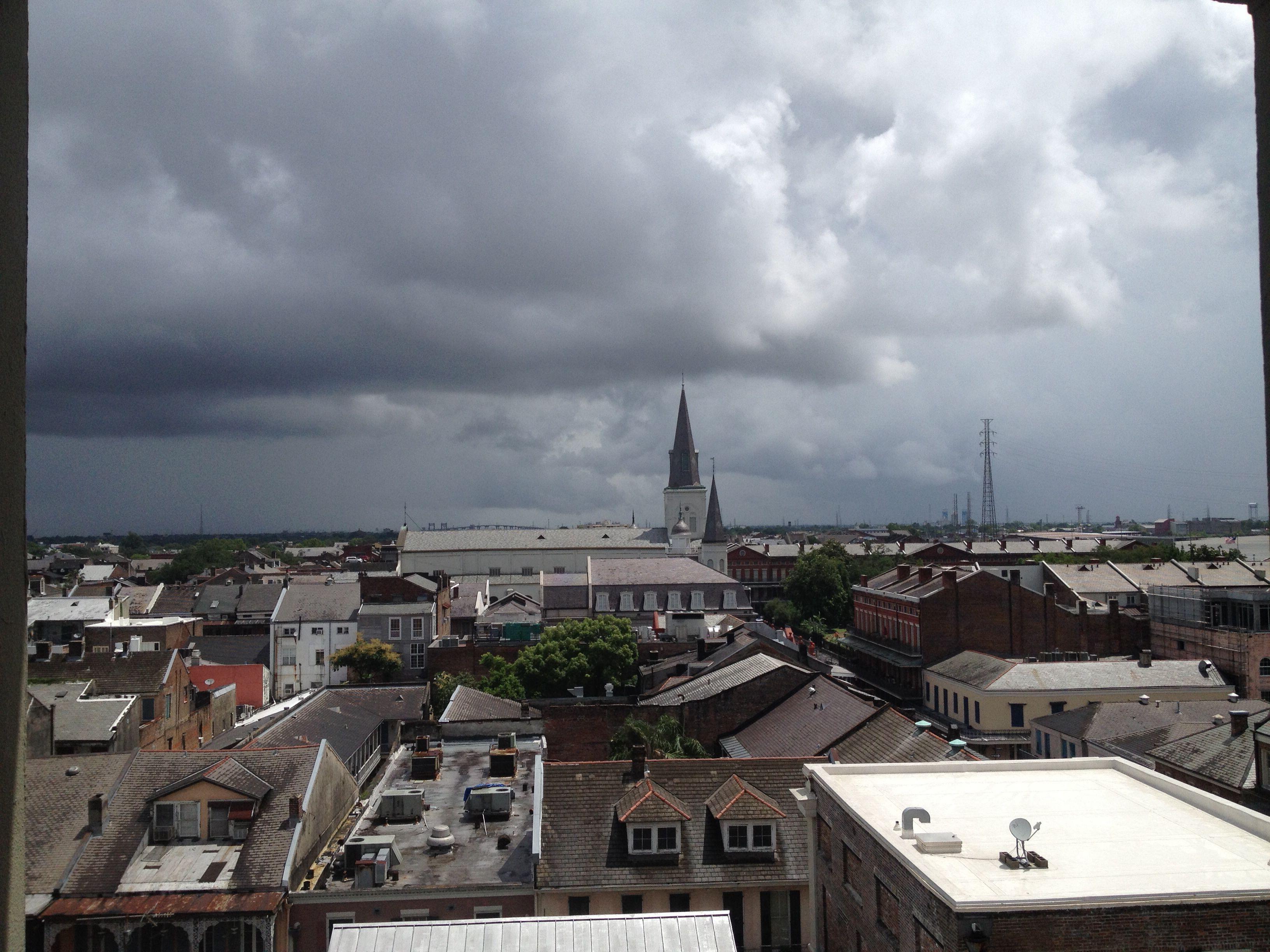 The view from the observation deck at the Omni Royal Orleans Hotel in NOLA's French Quarter.