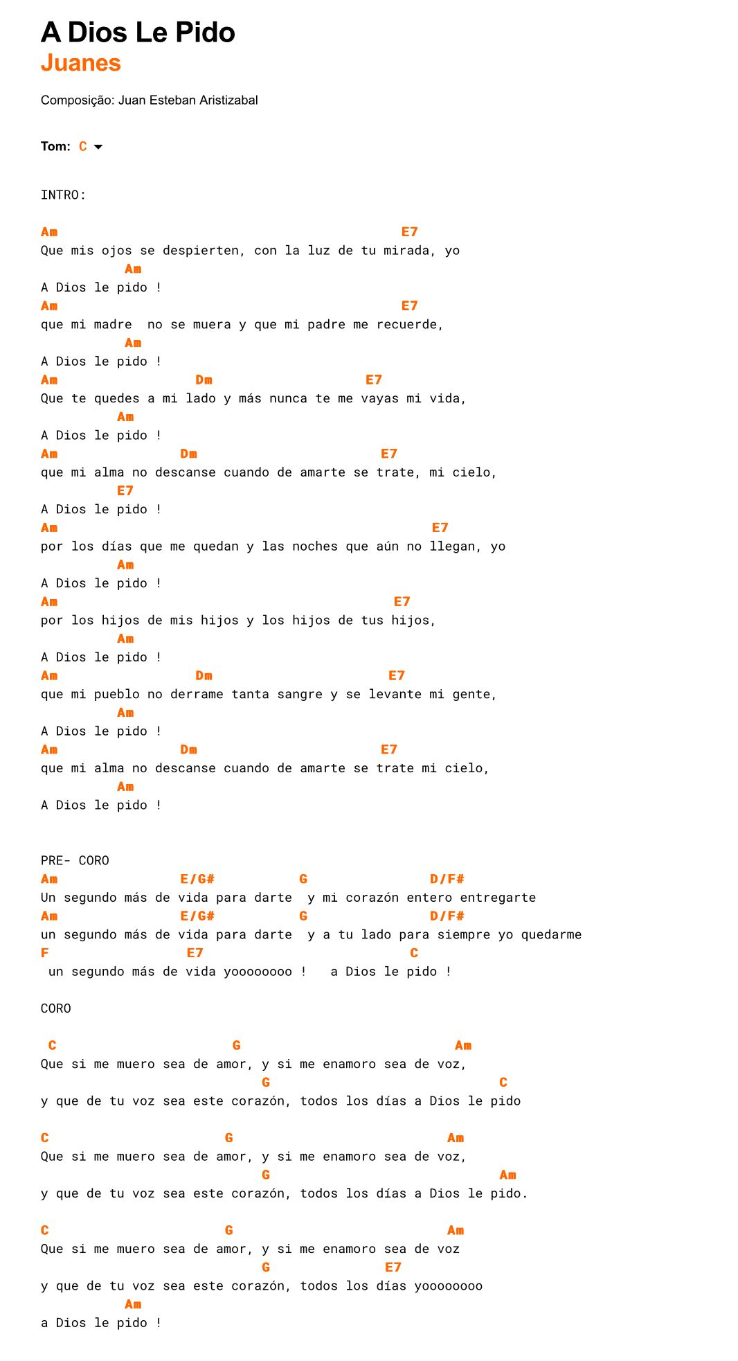 Juanes A Dios Le Pido Ukelele Canciones De Ukelele Letra De Cantos Catolicos Canciones De Guitarra